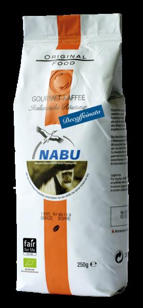 NABU Kaffee, Italienische Röstung, Decaffeinato, 250g, GANZE BOHNE, BIO