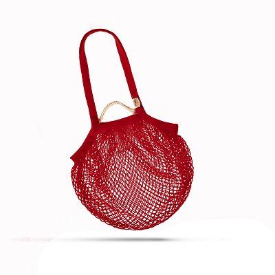 tschechische Netztasche aus Bio Baumwolle , Volumen 20 L rot - Handarbeit