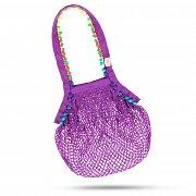 Boho Netztasche aus 100 % Baumwolle , Volumen 20 L lila - Handarbeit