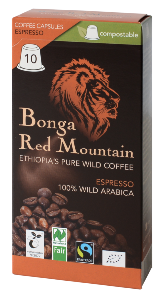Bonga Red Mountain Espresso Kapsel Inhalt 10 x 5,5g