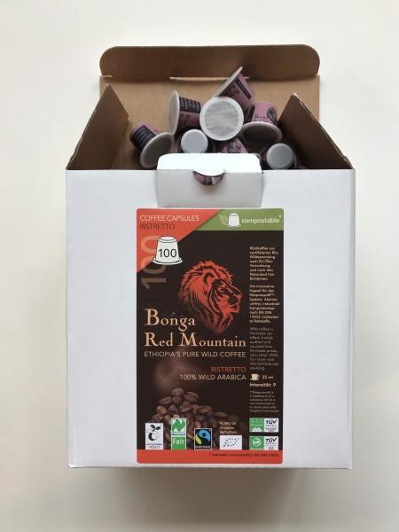 Bonga Red Mountain Espresso kompostierbare Kapsel Inhalt 100 x 5,5g