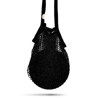 Netztasche aus 100 % Bambusfasern , Volumen 25 L schwarz - Handarbeit